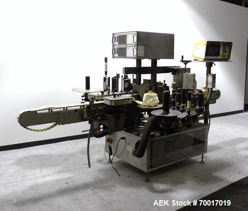 Used- New Jersey Machine Automatic Pressure Sensitive Front & Back Labeler, Model 334 LRWCB-143. Capable of speeds up to 300...