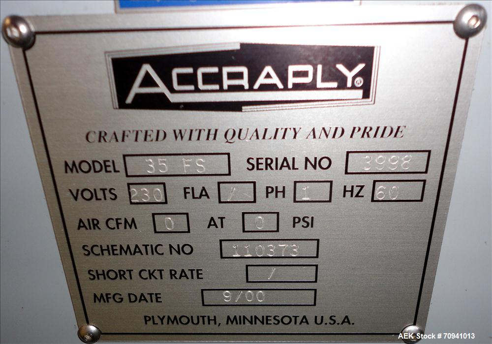 Used- Accraply Model 35FS Pressure Sensitive Labeler with Zebra Printer