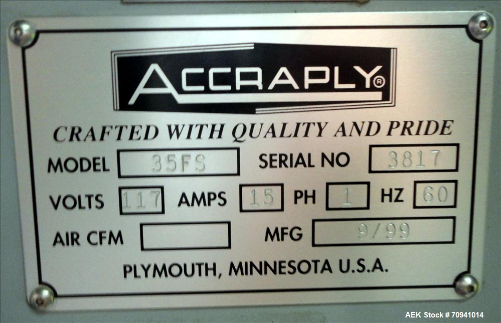 Used- Accraply Model 35FS Pressure Sensitive Labeler