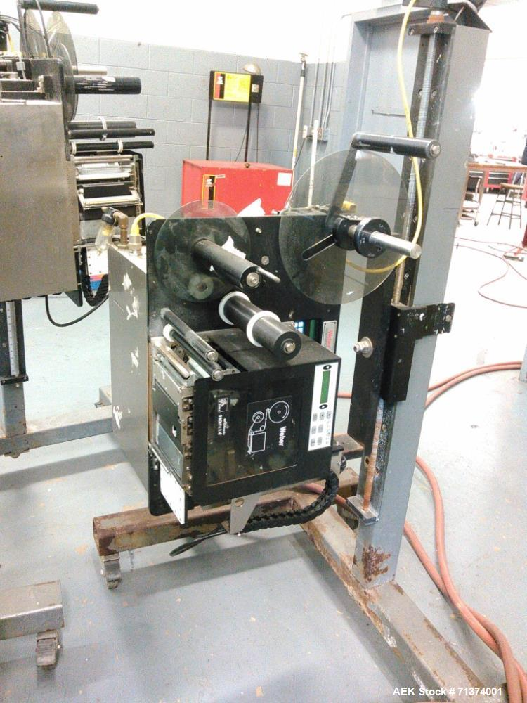 """Used- Weber Marking Systems Labeler, Model 5200V2. H-Base applicator stand, 200mm special thruster, 4""""x3"""" tamp pad, magnetic..."""