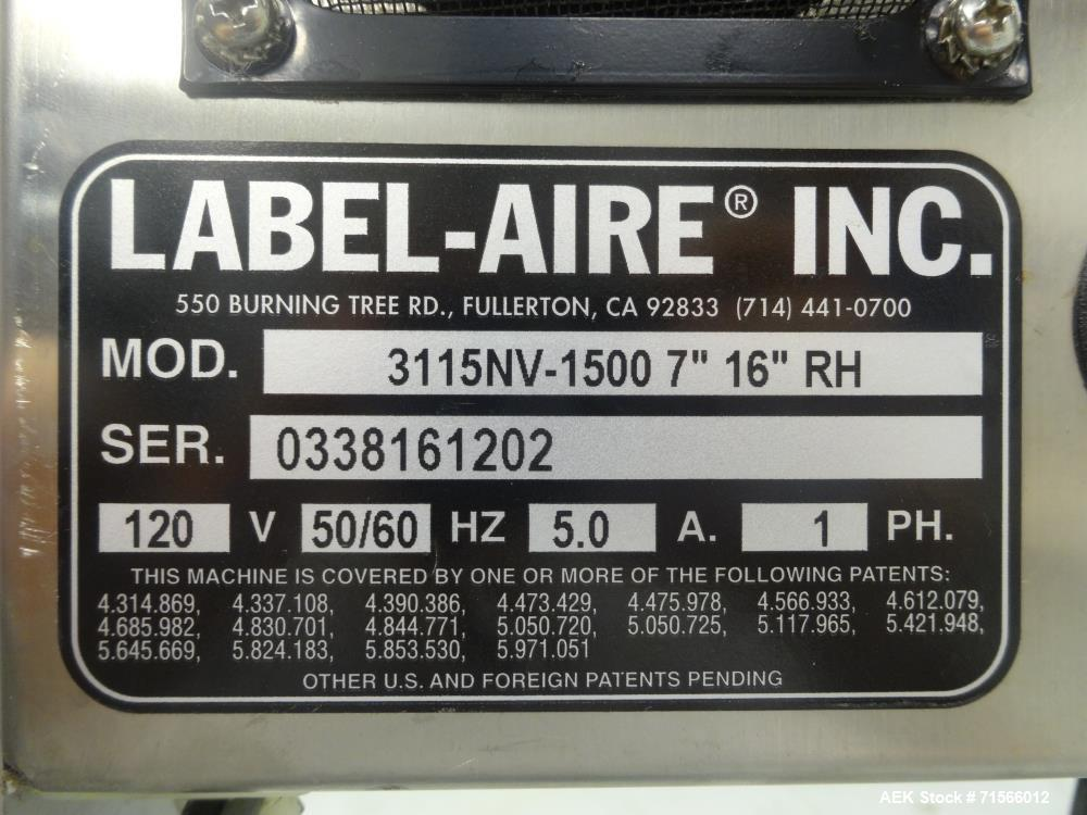 Used- Labelaire Model 3115NV-1500 Wipe-On Pressure-Sensitive Labeler