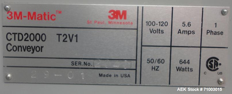 Used- 3M Model CA2000L-T3V1 Shipping Case Top Taper with Corner Wrap Print & Apply Label Applicator