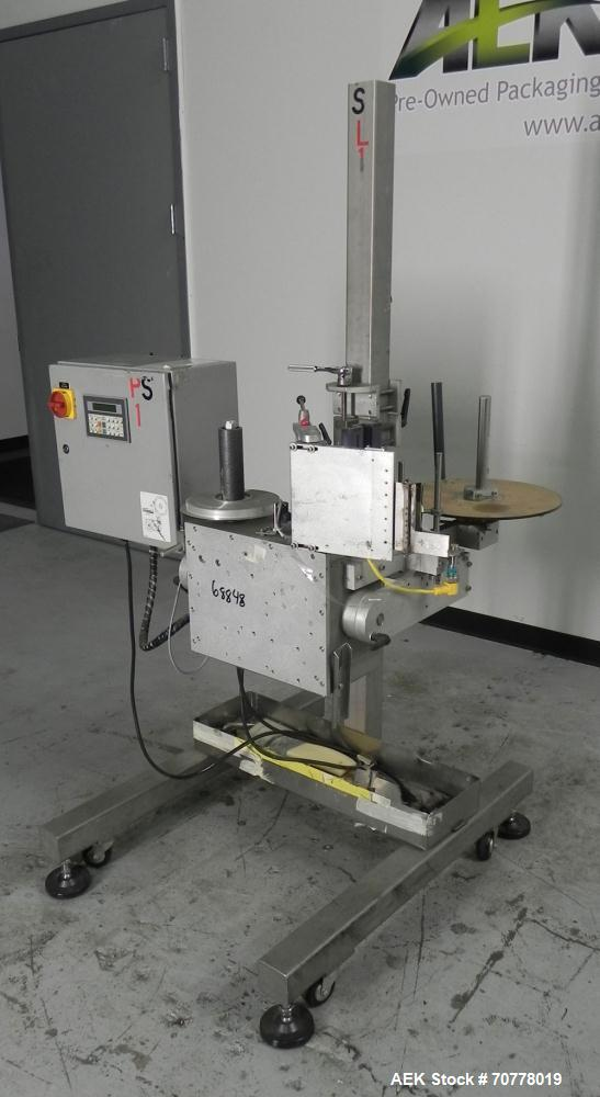 Used- Accraply Model 350 Pedestal Mounted Pressure Sensitive Labeler. Last used in cosmetic operation.