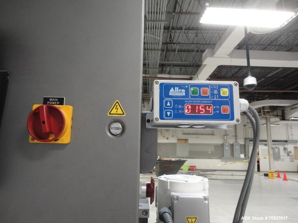 Used-Accraply Bottom Pressure Sensitive Labeler, with side transfer belts and Allen hot stamp coder.