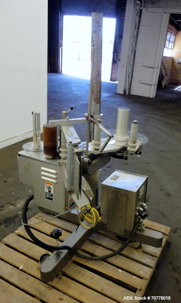 """Used- New Jersey Machine 305SL Colt Pressure Sensitive Labeler. Machine is rated at speeds of up to 800"""" of label per minute..."""