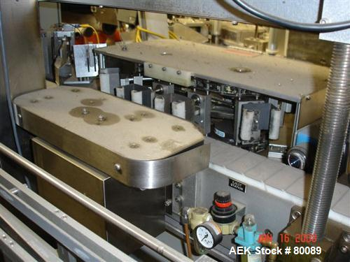 Used- Accraply model 4000 1/4 oz conveyorized label and scanning packaging syste