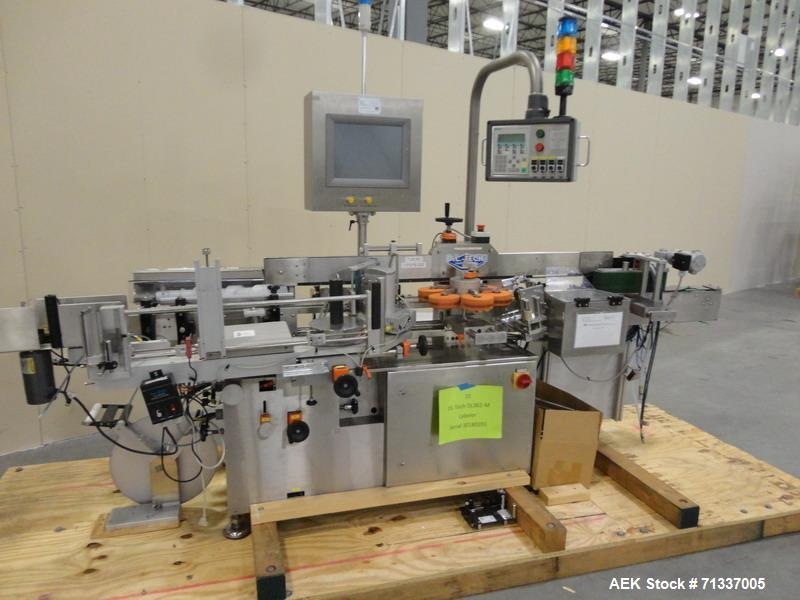 Used- DL Tech Model DL362M Labeler, w/Herma head, w/Cognex vision system, w/timing screw infeed, w/top hold down belt, Model...