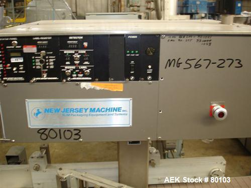 Used- New Jersey Machine Co model 331LSWBC-157 auto conveyorized packaging label