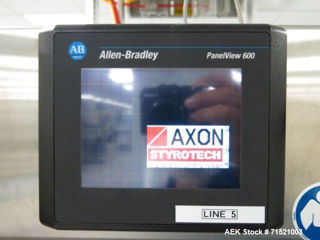 Used-Axon Model EZ-100 Tamper Evident Shrink Neck Bander and Tunnel for over the conveyor mounting. Sleeve size range of: 20...
