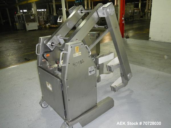 Used- Muller Drum Lift and Tilt, Type SLDNE75/4, stainless steel construction, rated 150 kg capacity, serial #923725, new 19...