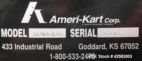 Used- Carbon Steel Ameri-Kart Mobile Hydraulic Dumper, model D6203-120