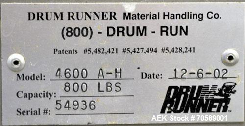 Used- Drum Runner Material Handling Drum Lift-Carry-Rotate-Pour, Model 4600A-H, carbon steel, 800 pound drum capacity.  Air ...