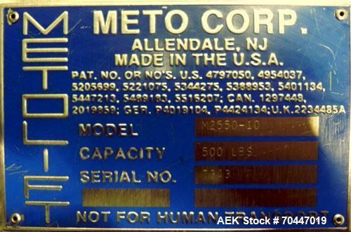 Used- Meto Corp Metolift, Model M2550-10