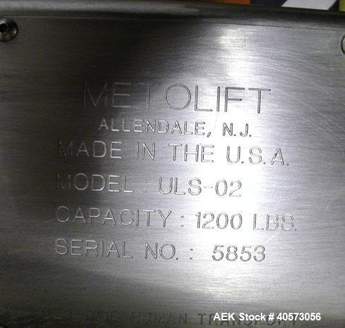 Used- Stainless Steel Meto Corp Power Drum Lift/Inverter, Model ULS-02