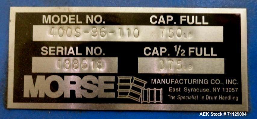Used- Morse Model 400S-96-110 Drum Dumper