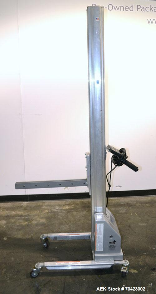 Used- Vestil Manufacturing Model PEL-100-A/HC DC Powered Quick Lift Aluminum. Capacity 125 pounds. Raised height 72, lowered...