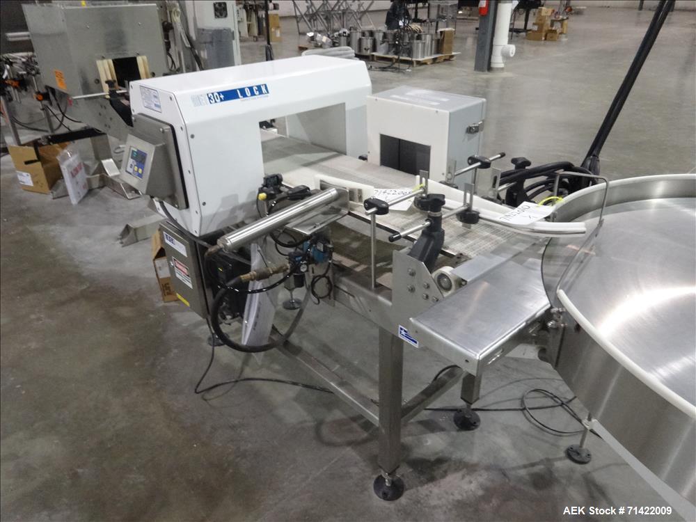 """Used-Loma Systems Metal Detector Conveyor, Lock Met30+, Mft. Lock, Serial N. 32348/1, 2007 conveyor 5'L, Opening 14"""" W, 7""""H ..."""