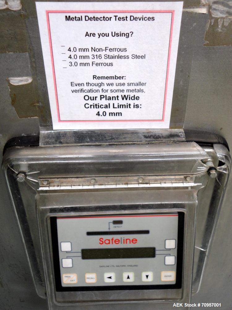 """Used- Safeline Model 16X22 Metal Detector. Has 16"""" wide(400mm) x 22"""" tall (550mm) product aperature, and 20-1/2"""" tall with c..."""