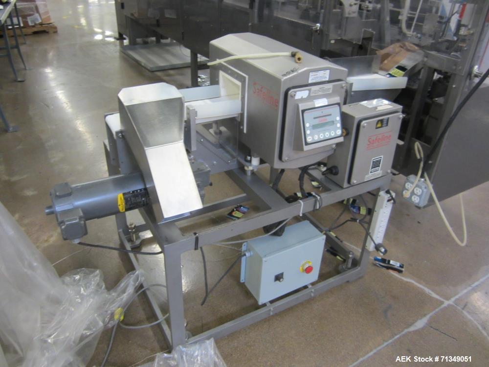 "Used- Safeline Powerphase Metal Detector. Aperture measures 3-1/2"" tall x 5-3/4"" wide. Belt conveyor measures 5 ""W x 53""L. I..."
