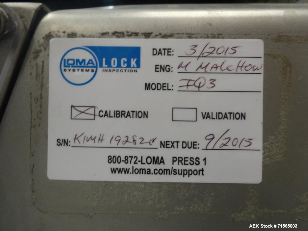 "Used- Loma Systems IQ3 S/S Metal Detector Head Only. S/N KIMH19282C with Aprox. 15-1/2"" W x 3-3/4"" H Product Opening and Dig..."