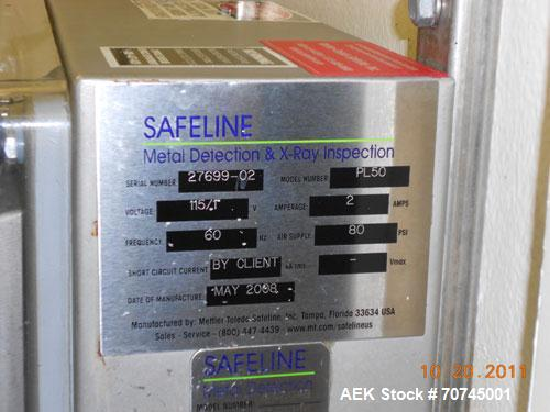 Used-Safeline Metal Detector, Model PL50.  115 Volts, 2 amps, 60 hz, 80 psi.  Manufactured 2008.