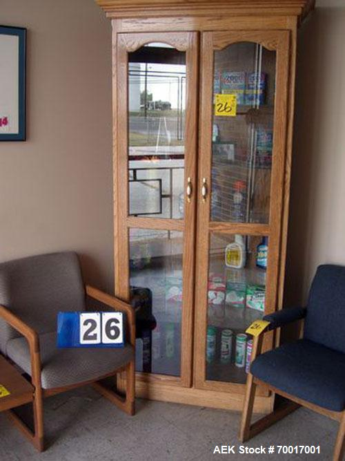 Used-CONTENTS OF LOBBY, CHAIR, SET-TEE AND OAK DISPLAY CABINET WITH SAMPLES