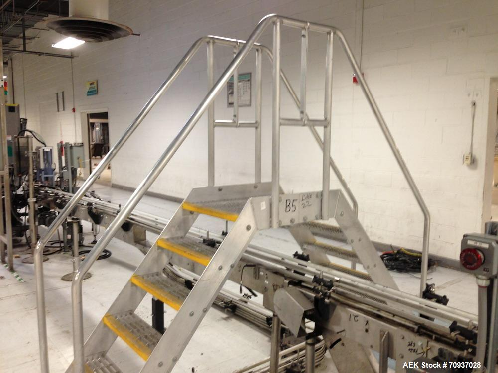 Used- Packaging Line Walkover Stainless Steel Stairs