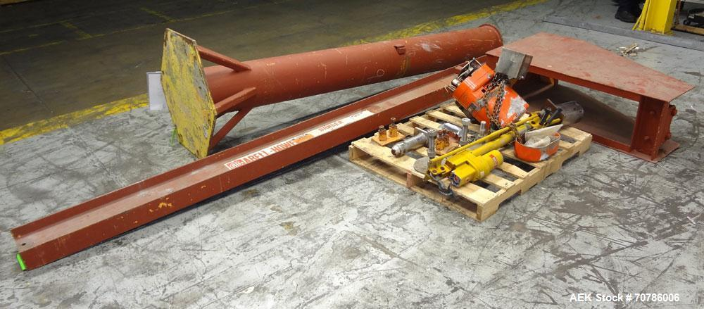 """Used- Abell-Howe Jib Crane, 1/2 Ton, Carbon Steel. Floor mounting. Approximate 117"""" tall base/mast assembly, approximate 159..."""