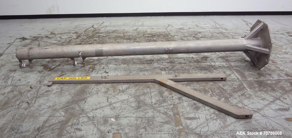 """Used- Jib Crane, 1/4 Ton, 304 Stainless Steel. Floor mounting. Approximate 127"""" tall base/mast assembly, approximate 84"""" log..."""