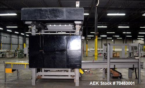 Used- Alvey Model 800 Automatic Palletizer. Capable of speeds up to 75 cases per minute. Has Allen Bradley Micrologixs PLC c...