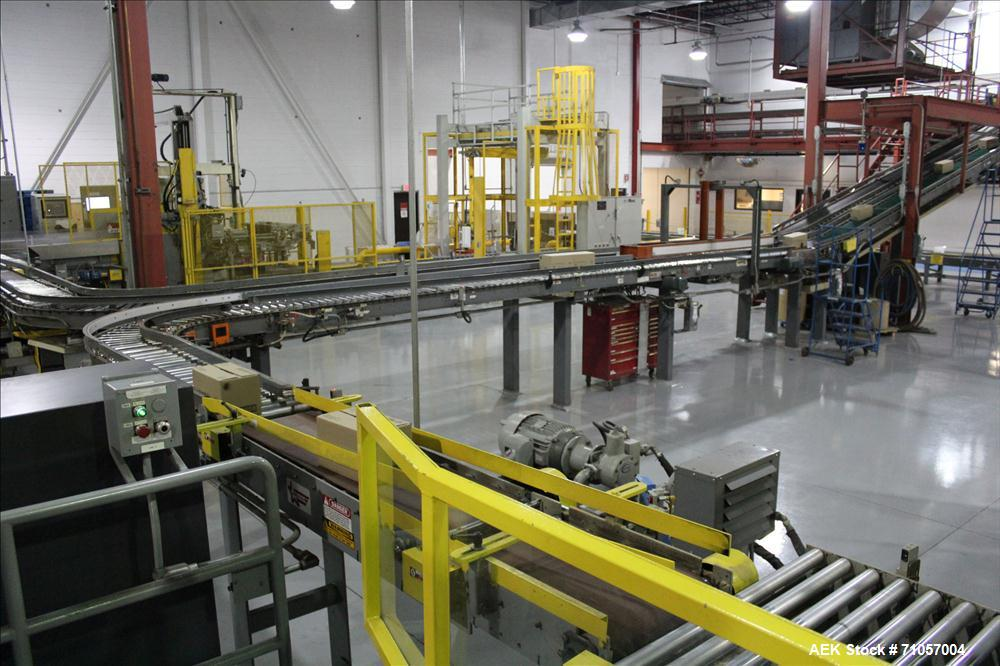 Used- Columbia Model 610 Low Level Palletizer with Slip Sheet capable of speeds up to 60 cases per minute (depending on case...