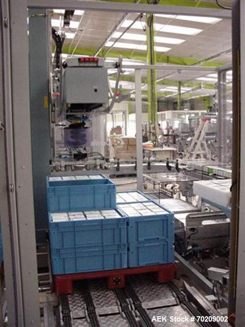 Used-  Cermex Sidel P922 Gantry Style Palletizer capable of speeds up to 12 cycles per minute. Has 4 axis gripping transfer ...
