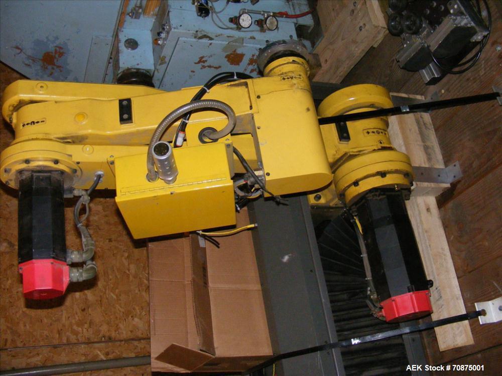 Used-Fanuc Robotics Palletizing Robot, Model M-400.  R-J controller, 4 axis robotic arm vacuum pic-n-place palletizer, 1000 ...