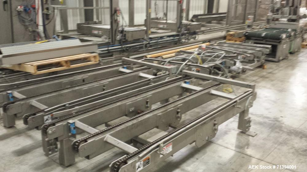 Used- Van Pak 2-Lane Robotic Palletizer expandable to 4 lanes with 20 pallet infeed, Gantry Style, Model 2000. Electric 460/...