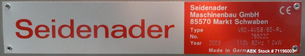 Used- Seidenader Model V90-AVSB/60-RL Visual Inspection System