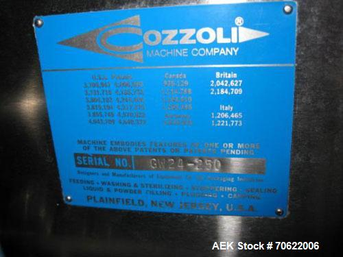 Used- Cozzoli Vial Washer, Model GW-24, Stainless Steel Construction. Rated up to 23,000 vials/hour, batch design, with chan...