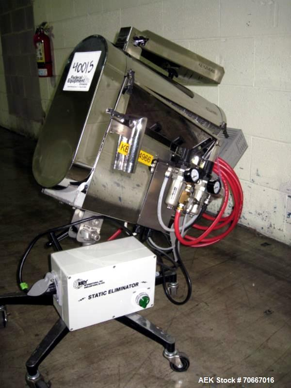 Used- Key capsule polisher, model CP350, stainles steel construction with Key MTCS empty capsule reject, on stand, 110V, ser...