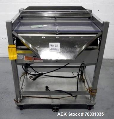 "Used- Ackely Tablet Sorter, Stainless Steel Construciton. Gravity feed with 14"" x 34"" wide sorting table, serial# 99634, new..."