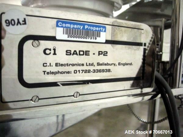 Used- CI Electronics Checkweigher, Model SADE P2, with feed dish, 115V, serial #TP736.  NOTE: PRICE INCLUDES A 15% BUYERS PR...