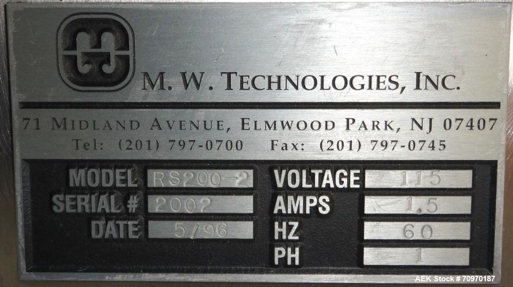 Used- M.W. Technologies 2 Lane Tablet Sorter, Model RS200-2