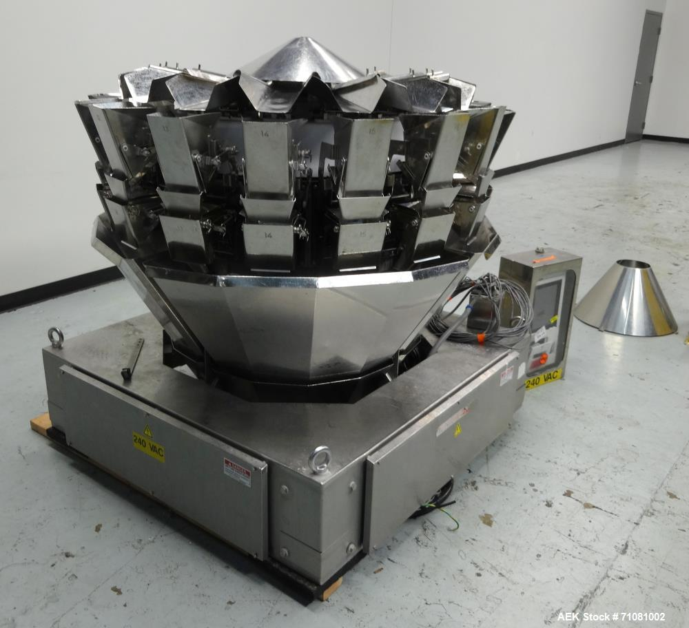 Used- Ishida 16 Head Computer Weigher, Model CCW-Z-216W-S/20-WP, Serial 19102, Year 1992.  208 Volt, 60 hz, 10.9 amps, stain...