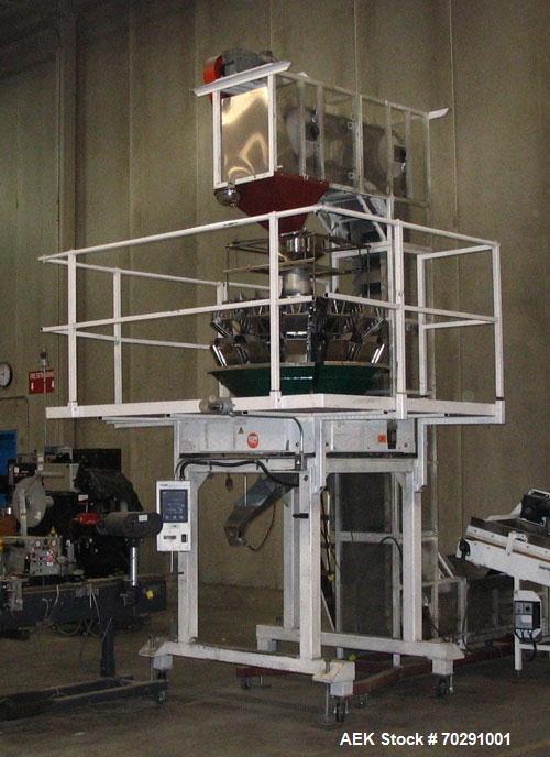 Used-Ishida Z series 14 head combination scale. Model CCWZ-214W-S/20-PB is complete with mezzanine and bucket elevator.