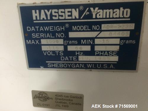 Used- Hayssen/Yamato 12 Head Rotary Combination Scale, Model ADW-223R. 15-1,000 gram weight range. Elec: 1/60/115. Last used...
