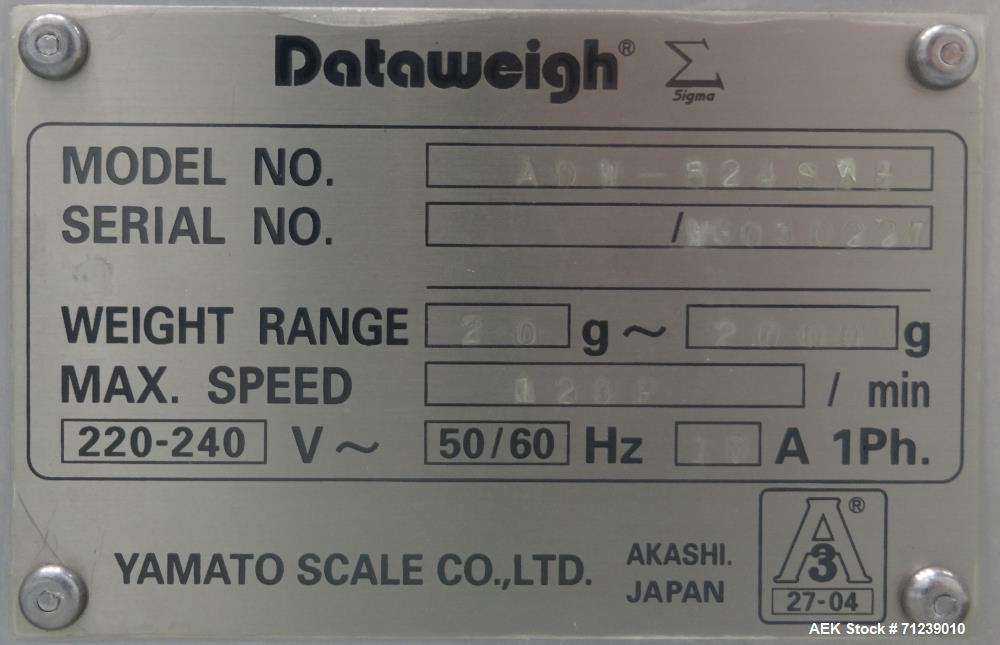 "Used- Yamato Scale Co Model Dataweigh ADW-524SWU ""Sigma"" Series Combination Scal"