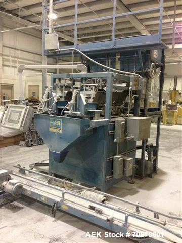Used-Powell Systems Model ASA 2600 Dual Scale Inline Filler. Last ran chemical product for bag in box net weigh filling appl...