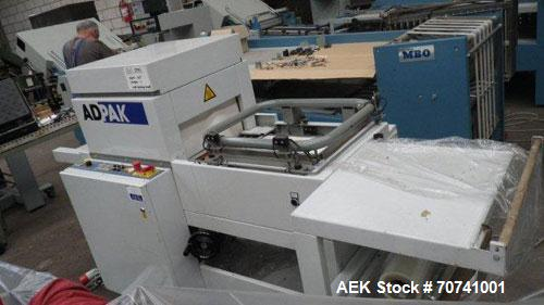Used-Adpak SP45/21 PCA Shrink Wrapper, pneumatically operated L-sealer, shrink tunnel, maximum speed 1250 packages/hour.