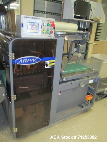 Used-Arpac Model L-18 Automatic L-Bar Shrink Wrapper. Capable of speeds up to 40 packages per minute. Variable conveyor spee...