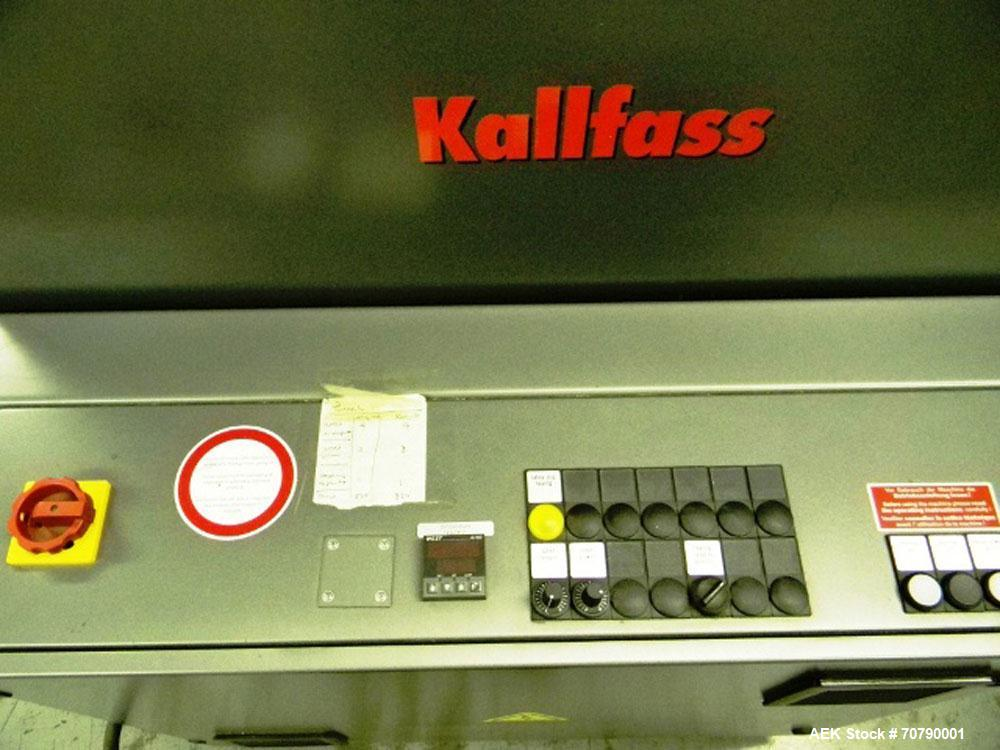 Used-Kalfass Universal 400 Shrink Line. Includes Kalfass Universal 450 Shrink Tunnel, Kirk Rudy 3 Station Inserter. Manufact...