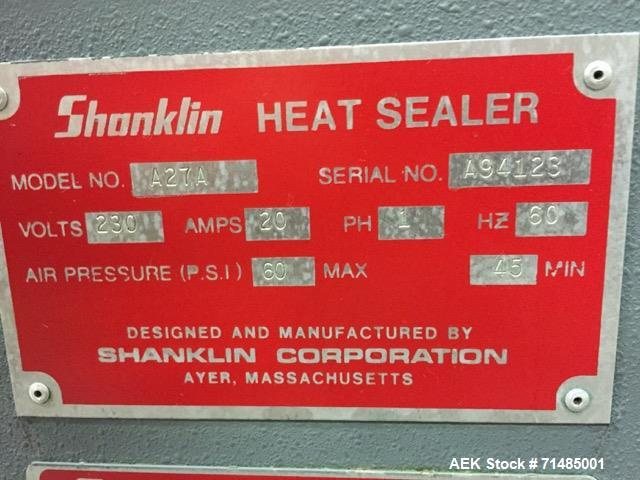 Used- Shanklin Automatic L Bar Sealer, Model A27. Capable of speeds up to 35 packages per minute. Has package size range: le...