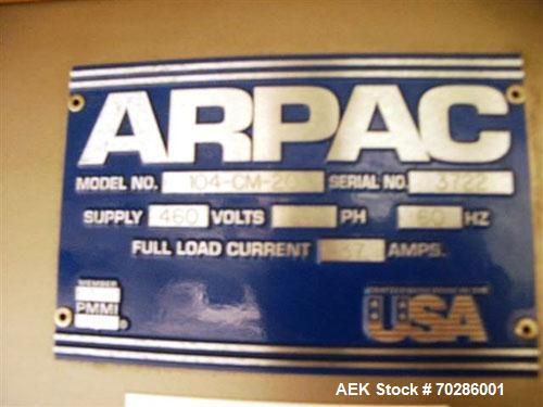 Used-  Arpac Model 104-CM-20 in-line bundling system with 3-lane infeed conveyor (20 bundles per minute). Unit has a 21 inch...